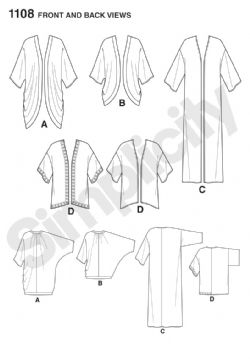 1108 Simplicity Pattern: Misses' Kimono in Different Styles